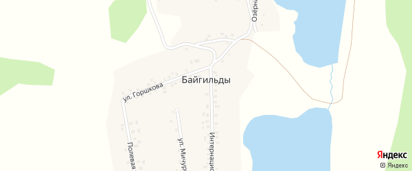 Озерная улица на карте села Байгильды с номерами домов