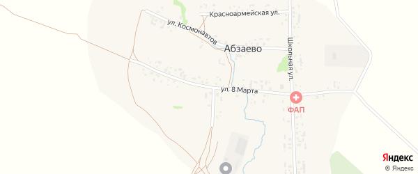Улица 8 Марта на карте деревни Абзаево с номерами домов