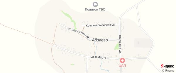 Улица Космонавтов на карте деревни Абзаево с номерами домов