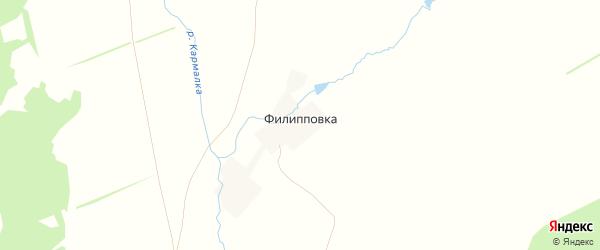 Карта деревни Филипповки в Башкортостане с улицами и номерами домов