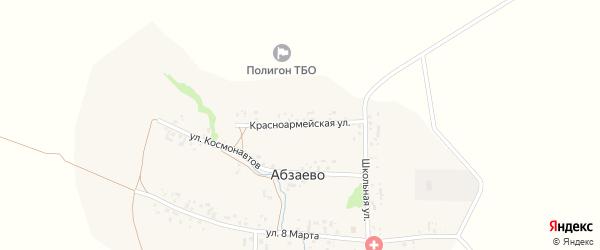 Красноармейская улица на карте деревни Абзаево с номерами домов