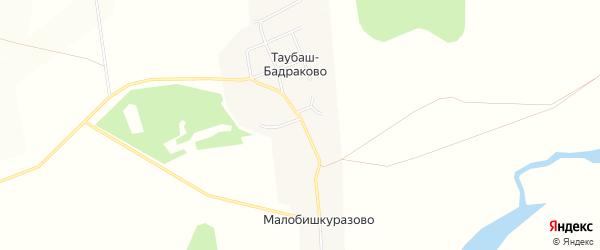Карта деревни Таубаш-Бадраково в Башкортостане с улицами и номерами домов