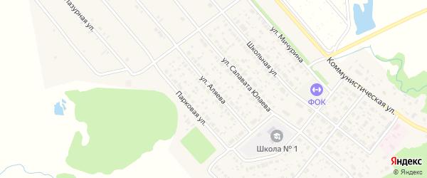 Улица Аляева на карте села Федоровки с номерами домов