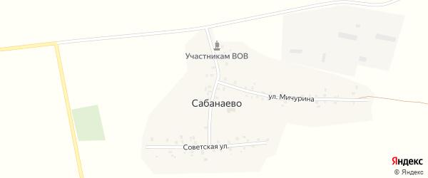 Улица Фазыловых на карте деревни Сабанаево с номерами домов