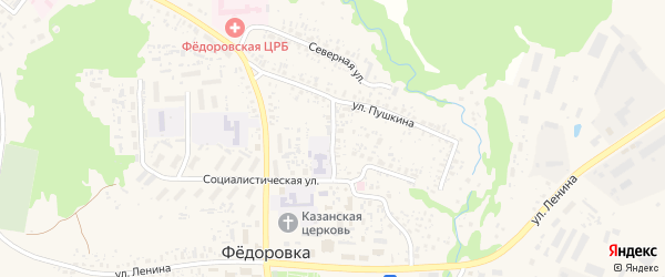 Библиотечная улица на карте села Федоровки с номерами домов