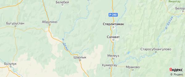 Карта Стерлибашевского района республики Башкортостан с городами и населенными пунктами