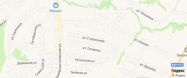 Улица Строителей на карте села Федоровки с номерами домов