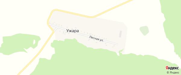 Лесная улица на карте деревни Ужары с номерами домов