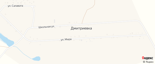 Улица Мира на карте деревни Дмитриевки с номерами домов
