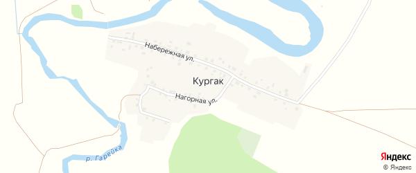 Нагорная улица на карте деревни Кургака с номерами домов