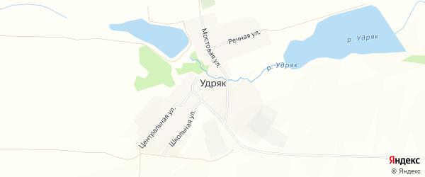 Карта деревни Удряка в Башкортостане с улицами и номерами домов