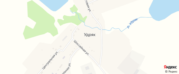 Шоссейная улица на карте деревни Удряка с номерами домов