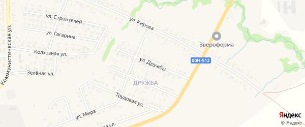 Улица Дружбы на карте села Федоровки с номерами домов