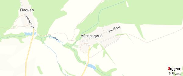 Карта деревни Айгильдино в Башкортостане с улицами и номерами домов