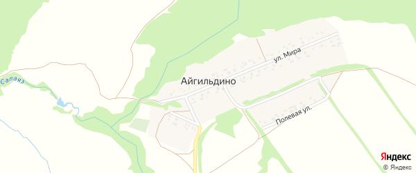 Молодежная улица на карте деревни Айгильдино с номерами домов
