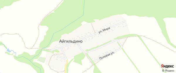 Улица Мира на карте деревни Айгильдино с номерами домов