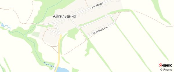 Полевая улица на карте деревни Айгильдино с номерами домов