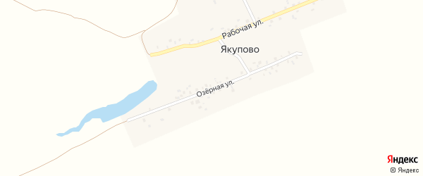 Рабочая улица на карте деревни Якупово с номерами домов