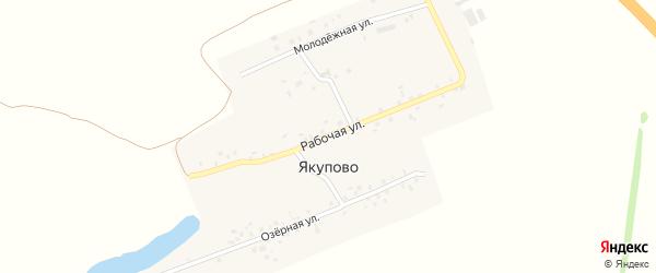Озёрная улица на карте деревни Якупово с номерами домов