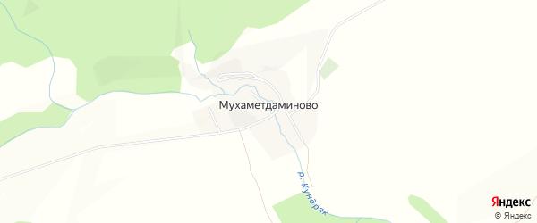 Карта деревни Мухаметдаминово в Башкортостане с улицами и номерами домов