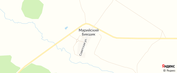 Карта деревни Марийского Бикшика в Башкортостане с улицами и номерами домов