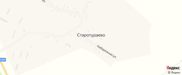 Набережная улица на карте деревни Старотураево с номерами домов