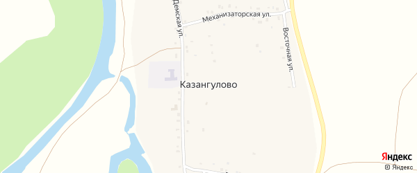 Южная улица на карте села Казангулово с номерами домов