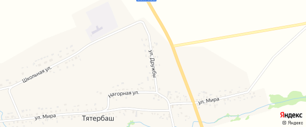 Улица Дружбы на карте села Тятербаша с номерами домов
