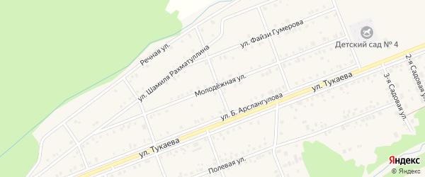 Молодежная улица на карте села Стерлибашево с номерами домов