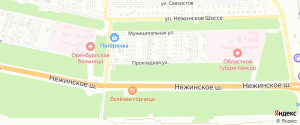 Прохладная улица на карте Оренбурга с номерами домов