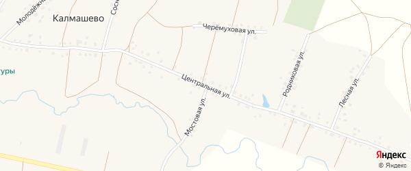 Центральная улица на карте села Калмашево с номерами домов