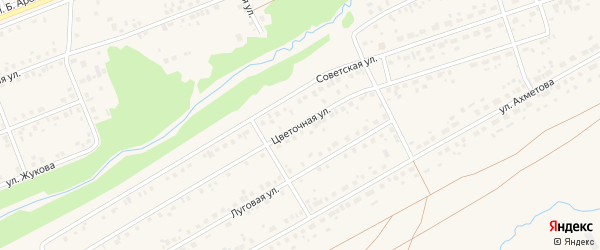 Цветочная улица на карте села Стерлибашево с номерами домов