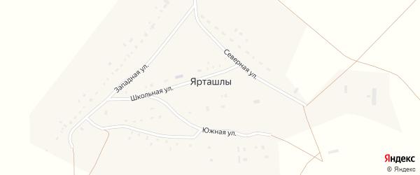 Школьная улица на карте деревни Ярташлы с номерами домов