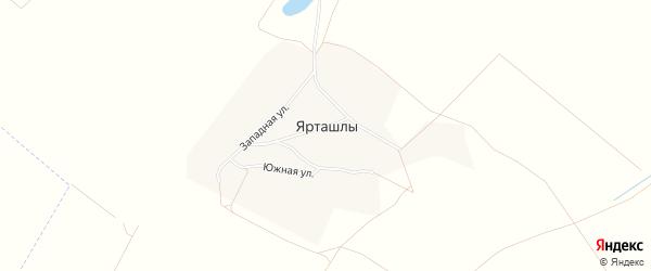 Карта деревни Ярташлы в Башкортостане с улицами и номерами домов