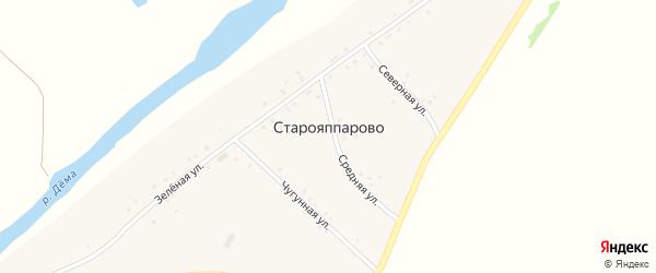 Зеленая улица на карте села Старояппарово с номерами домов
