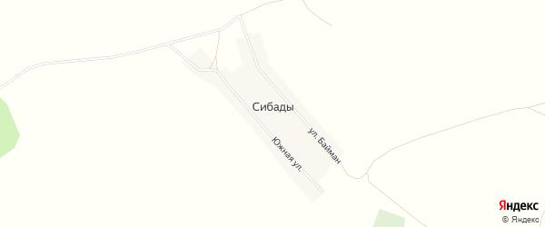 Карта села Сибады в Башкортостане с улицами и номерами домов