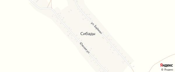 Южная улица на карте села Сибады с номерами домов