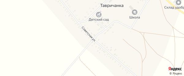 Советская улица на карте села Тавричанки с номерами домов