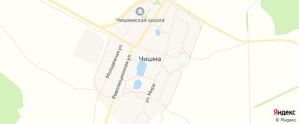Карта деревни Чишмы в Башкортостане с улицами и номерами домов