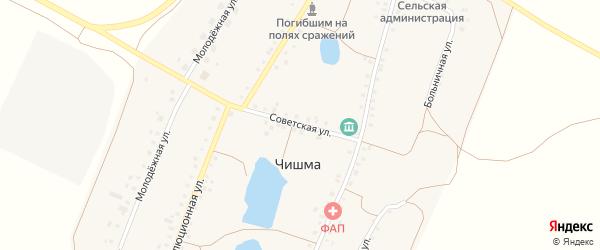 Советская улица на карте села Чишмы с номерами домов