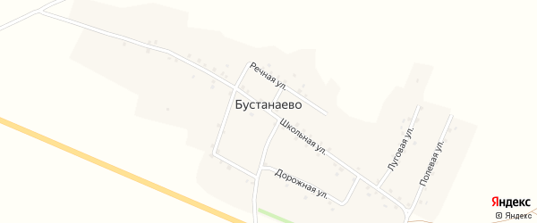 Дорожная улица на карте деревни Бустанаево с номерами домов