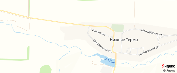 Карта деревни Нижние Термы в Башкортостане с улицами и номерами домов