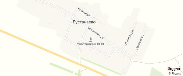 Школьная улица на карте деревни Бустанаево с номерами домов