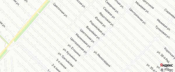Цветочная улица на карте садового некоммерческого товарищества Надежды с номерами домов