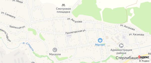 Пролетарская улица на карте села Стерлибашево с номерами домов