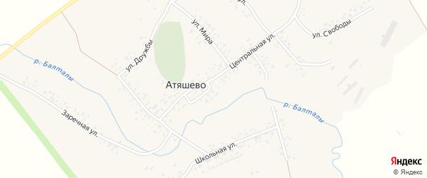 Заречная улица на карте села Атяшево с номерами домов