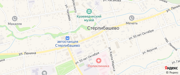 Улица Ленина на карте села Стерлибашево с номерами домов