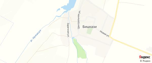 Карта села Бишкази в Башкортостане с улицами и номерами домов