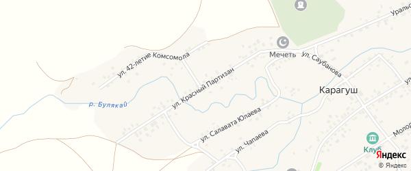 Улица Красный Партизан на карте села Карагуша с номерами домов