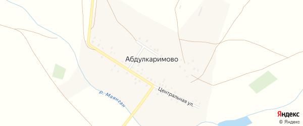 Заречная улица на карте деревни Абдулкаримово с номерами домов
